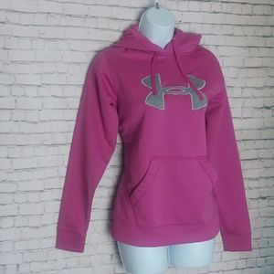 UNDER ARMOUR pink and grey logo hoodie